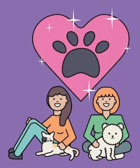 Giovani donne con le mascotte di cane e gatto carino