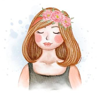Giovani donne dolci con corona di fiori