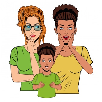 Giovani donne e bambina