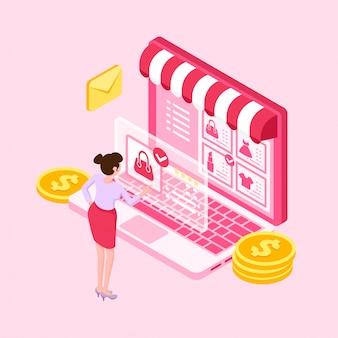 Giovani donne isometriche che comperano online con il computer portatile