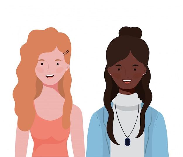 Giovani donne su bianco