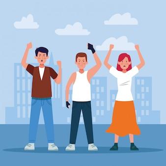 Giovani e donna del fumetto che protestano sopra gli edifici urbani della città