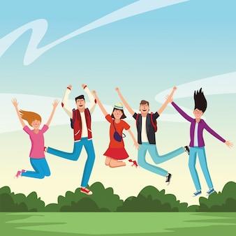 Giovani e felici amici