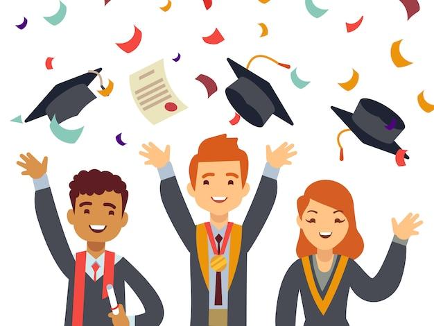 Giovani laureati felici con tappi laureati e coriandoli che cadono