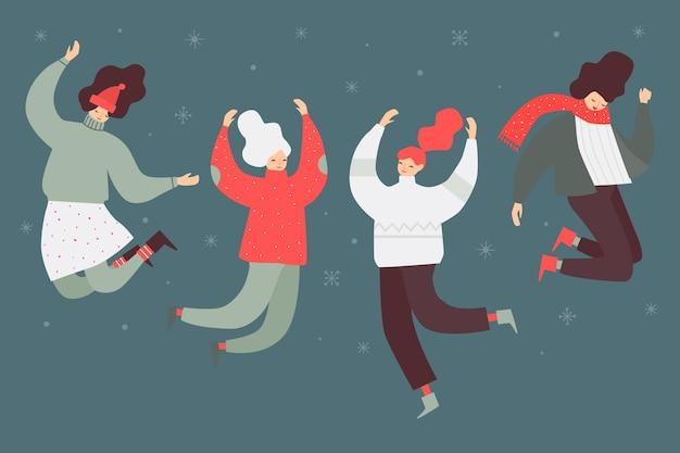 Giovani nel salto dei vestiti di inverno