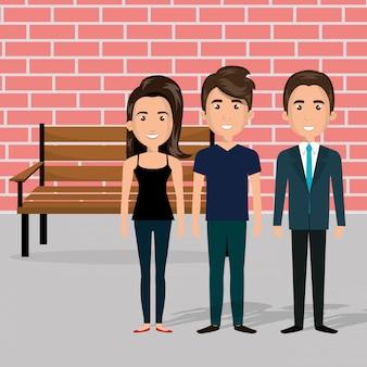 Giovani nella scena dei personaggi della sedia del parco