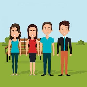 Giovani nella scena dei personaggi sul campo