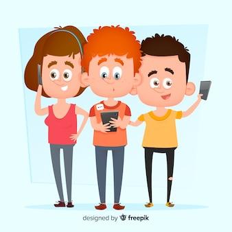 Giovani personaggi con illustrazione di telefoni