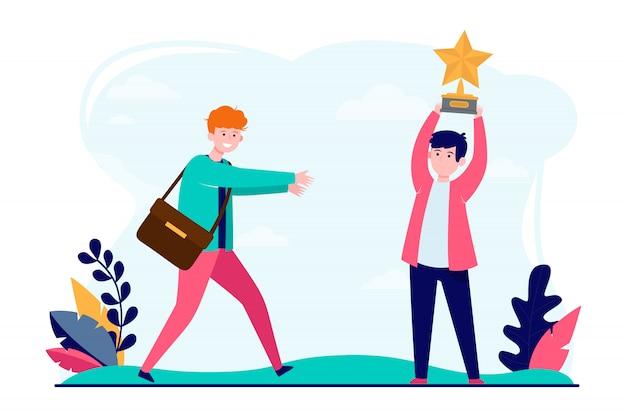 Giovani ragazzi con il premio da stella