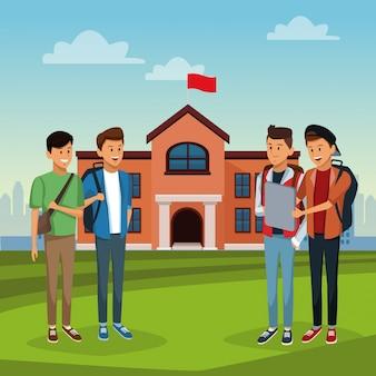 Giovani studenti nell'edificio delle scuole superiori