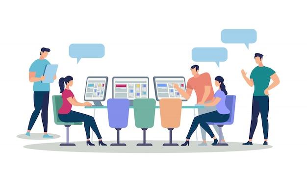 Giovani uomini e donne che usano gadget e computer