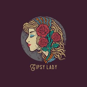 Gipsy lady disegnata a mano vintage