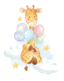 Giraffa di cartone animato con palloncini colorati illustrazione