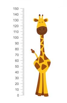 Giraffa divertente allegra con collo lungo. altimetro o metro wall o wall sticker da 0 a 150 centimetri per misurare la crescita. illustrazione per bambini