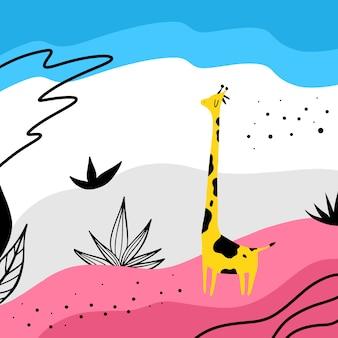Giraffa nell'illustrazione disegnata a mano di vettore selvaggio e astratto.
