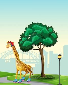 Giraffa nella scena del parco