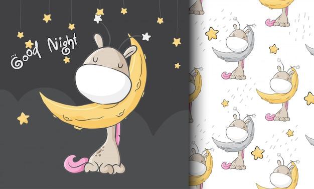 Giraffa sveglia che sogna l'illustrazione senza cuciture del modello puerile
