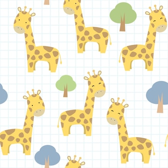 Giraffa sveglia sul modello senza cuciture del fumetto di griglia