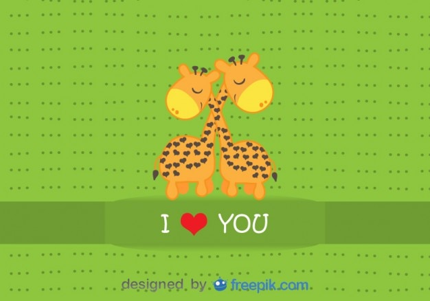 Giraffe abbracciare - carta cartone animato vettore
