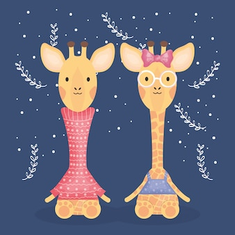 Giraffe coppia carina con personaggi vestiti