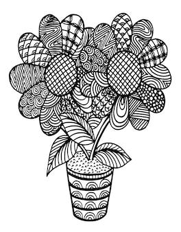 Girasole decorativo disegnato a mano sul vaso