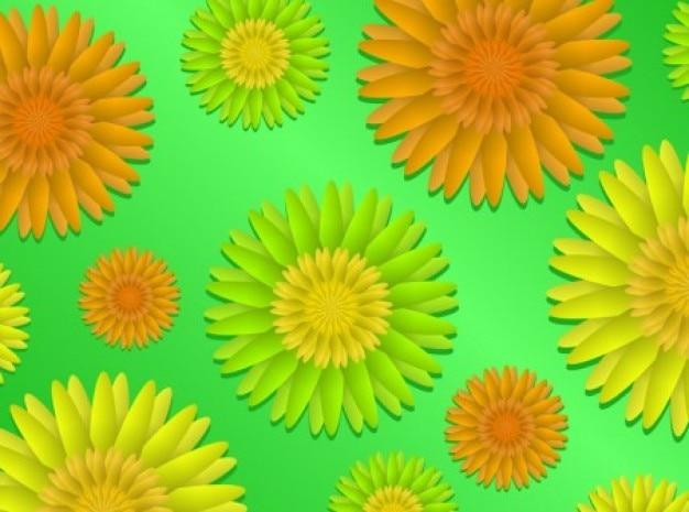 Girasoli colorati su sfondo verde