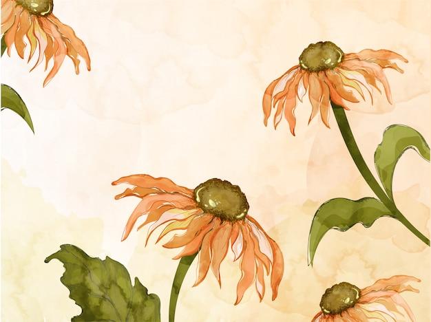 Girasoli creativi con foglie decorate su effetto acquerello arancione.