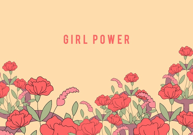 Girl power on floral background vector