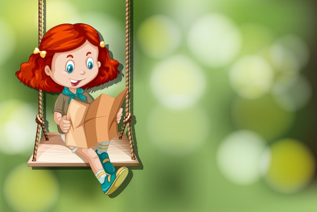 Girl scout sull'altalena