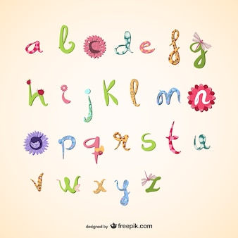 Girly vettore alfabeto