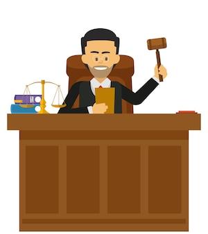 Giudice maschio che lavora alla corte