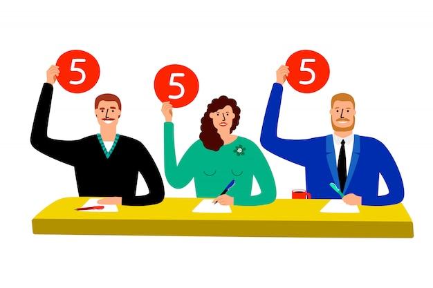 Giuria del quiz. gruppo del giudice della concorrenza che si siede alla tavola, stima e mostri l'illustrazione delle scorecard di opinione