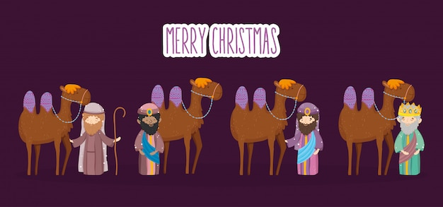Giuseppe tre saggi con presepe di cammelli presepe, buon natale