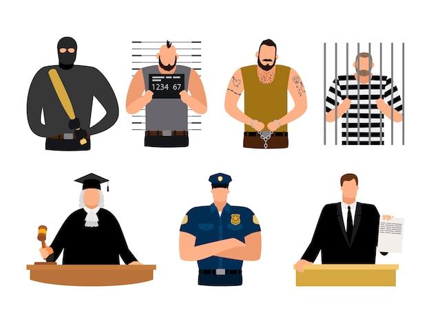 Giustizia persone, prigioniero e imputato, poliziotto, giudice e avvocato