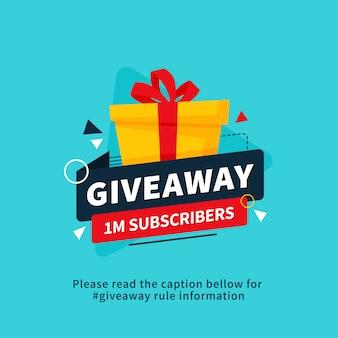 Giveaway 1m abbonati poster design modello per post social media o banner del sito web.