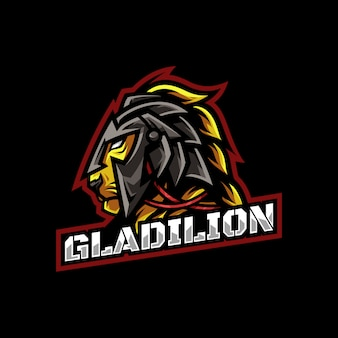 Gladiatore lion head mascot logo esport
