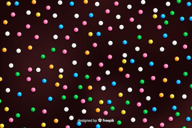 Glassa di ciambella con granelli rotondi colorati