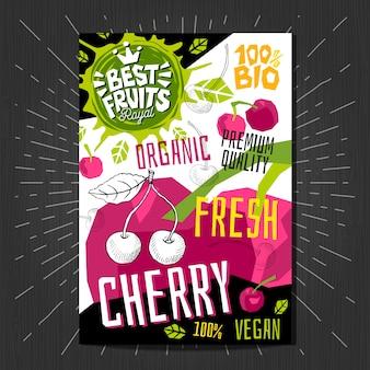 Gli adesivi delle etichette dell'alimento hanno messo la frutta variopinta di stile di schizzo, progettazione di pacchetto delle verdure delle spezie. ciliegia, bacche, bacche. biologico, fresco, bio, eco. disegnato a mano.