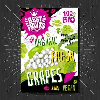 Gli adesivi delle etichette dell'alimento hanno messo la frutta variopinta di stile di schizzo, progettazione di pacchetto delle verdure delle spezie. uva, bacche, bacche. biologico, fresco, bio, eco. disegnato a mano.