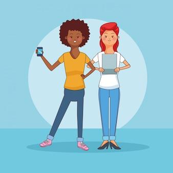 Gli adolescenti si accoppiano usando i fumetti degli smartphone