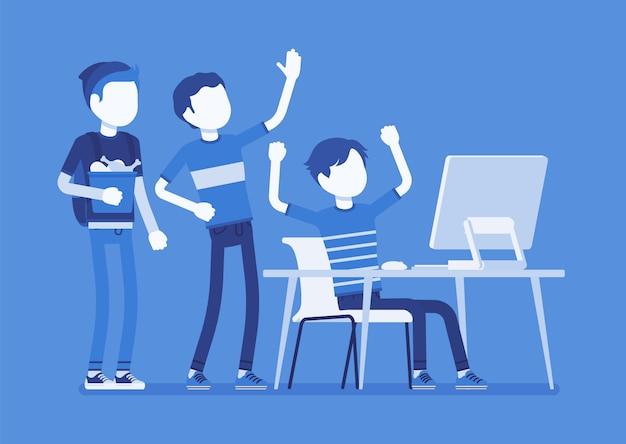 Gli adolescenti si divertono al computer. gruppo di amici che guardano sullo schermo del pc divertendosi, divertendosi, ridendo di streaming video, chat, giochi, musica o social network. illustrazione con personaggi senza volto