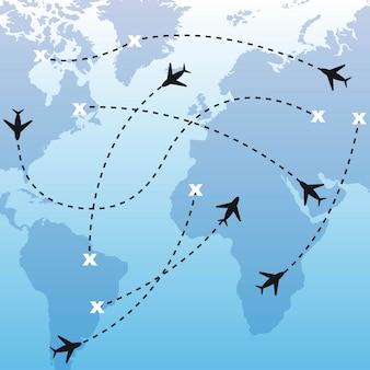 Gli aeroplani della siluetta sopra la mappa sopra il vettore blu del fondo