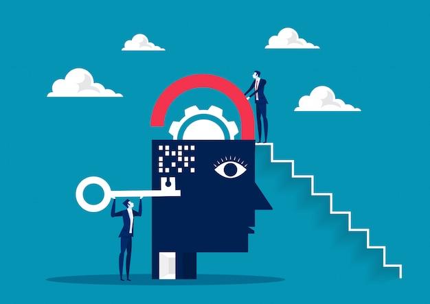 Gli affari prendono la chiave per sbloccare il cervello, il pensiero positivo