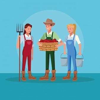 Gli agricoltori che lavorano in cartoni animati