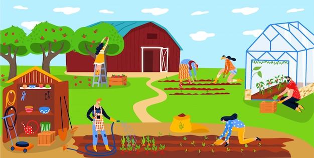 Gli agricoltori che piantano le verdure, la gente felice lavorano insieme sull'azienda agricola locale di eco, illustrazione