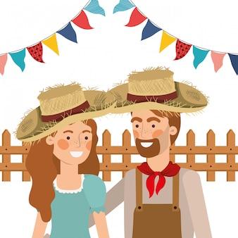 Gli agricoltori coppia parlando con cappello di paglia