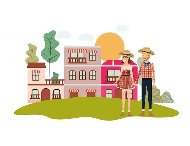 Gli agricoltori coppia parlando