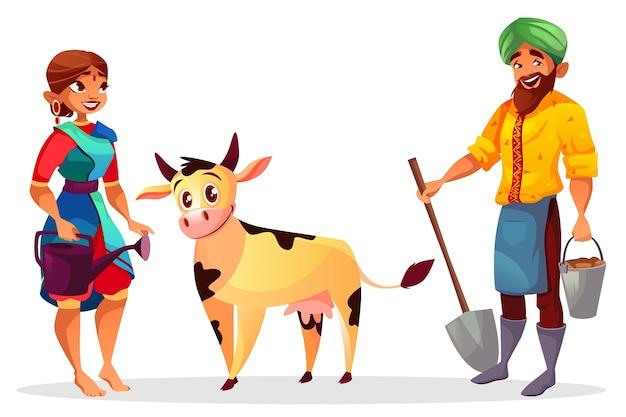 Gli agricoltori ragazza e ragazzo con la mucca del bambino