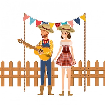 Gli agricoltori si accoppiano con uno strumento musicale