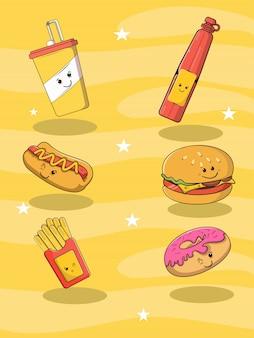 Gli alimenti a rapida preparazione con gli hot dog degli hamburger bevono l'illustrazione della pizza e dei dessert delle patate fritte